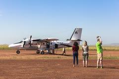 Airplane service in Maasai Mara Park in Kenya Royalty Free Stock Photos