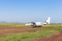 Airplane service in Maasai Mara Park in Kenya Stock Photos