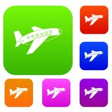 Airplane set color collection. Airplane set icon color in flat style isolated on white. Collection sings vector illustration Stock Photo