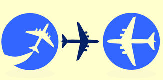 Airplane. Set of three airplane buttons royalty free illustration