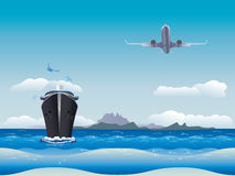 Airplane and Ship Royalty Free Stock Images