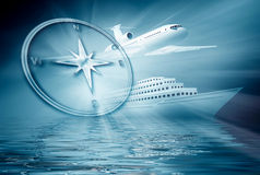 Airplane ship compass on blue  background Royalty Free Stock Photo