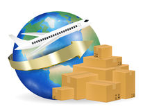 Airplane shipping corrugated carton box around the world Royalty Free Stock Photo