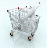 Airplane on the shopping cart Royalty Free Stock Photo