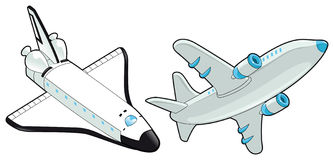Airplane and shuttle. Stock Photo