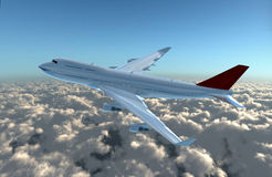 Airplane side view. A airplane flying in the sky, Provide a travel and airline services concept Royalty Free Stock Photo