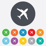 Airplane sign. Plane symbol. Travel icon. Flight flat label. Round colourful 11 buttons royalty free illustration