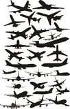 Airplane silhoetts. Set of silhouetts airplane many view Royalty Free Stock Image