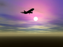 Airplane silhouette Stock Images