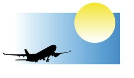 Airplane silhouette. Airplane rear view silhouette with blue sky ( with vector eps format Stock Photos
