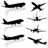 Airplane silhouette in black vector. On white background Stock Images
