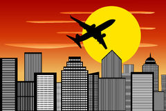 Airplane Silhouette Climbing Sunset Cityscape Royalty Free Stock Photography