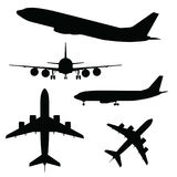 Airplane silhouette in different view. Black vector royalty free illustration