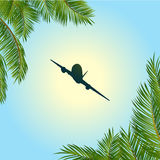 Airplane silhouette over sunny sky and palm trees. Airplane Silhouette Over Blue Sunny Sky and Palm trees Background Royalty Free Stock Photo