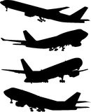 Airplane silhouette set Royalty Free Stock Photo