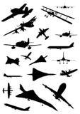Airplane silhouette set Stock Photo
