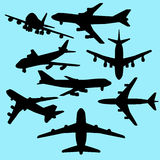 Airplane silhouette set Stock Images