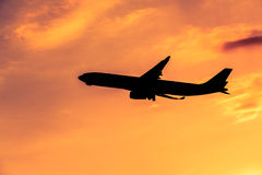 Airplane silhouette Stock Image