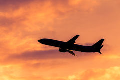 Airplane silhouette Royalty Free Stock Image
