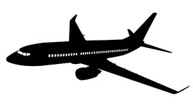 Airplane silhouette. Vector illustration. Royalty Free Stock Images