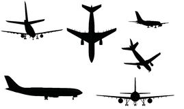 Airplane silhouettes. Black and white bitmap file Stock Photo