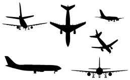 Airplane silhouettes. Six kinds of vector airplane silhouettes Stock Images