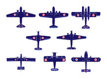 Airplane silhouettes. Vector illustration of the airplane silhouettes of wwii Royalty Free Stock Images
