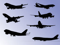 Airplane silhouettes Royalty Free Stock Images