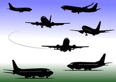 Airplane silhouettes Royalty Free Stock Photo