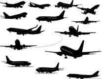 Airplane silhouettes Stock Image