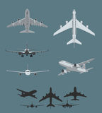 Airplane silhouettes collection Royalty Free Stock Photo