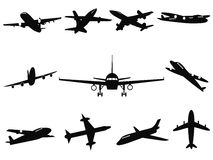 Airplane silhouettes. Isolated black Airplane silhouettes from white background Stock Image