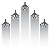 Airplane silhouettes with tracks Royalty Free Stock Photos
