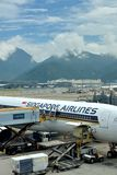 Airplane of Singapore Airlines maintian in Hongkong Airport Stock Photos