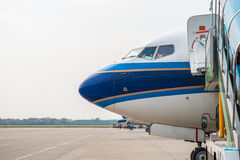 Airplane sits Royalty Free Stock Photos