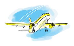 Airplane sketch in blue sky. Aircraft in minimalistic style with colored accents on sky and sunlight on plane. Hand draw. Vector isolated illustration. Use as vector illustration
