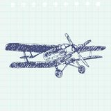 Airplane sketch. Hand drawn illustration for your design royalty free stock photo