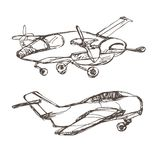 Airplane sketch. Hand drawn illustration for your design: tickets, t-shirt Royalty Free Stock Photo