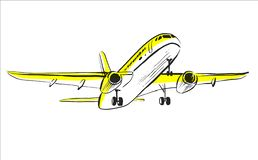 Airplane sketch in sky. Aircraft in minimalistic style with colored accents sunlight on plane. Hand draw line art. Vector isolated illustration. Use as icon royalty free illustration