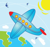 Airplane in the Sky. Illustration in cartoon style - Airplane fly over the earth vector illustration