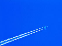 Airplane in sky. This is airplane in sky. It is theme of transportation Stock Photos
