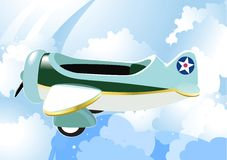Airplane in sky. Blue and white clouds. Cartoon royalty free illustration