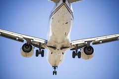 Airplane in the sky, Airbus A340 Royalty Free Stock Images