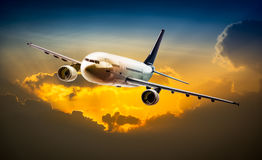 Airplane on the sky royalty free stock photography