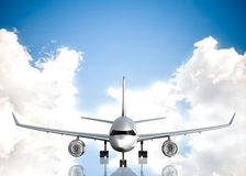 Airplane and sky on background Stock Images