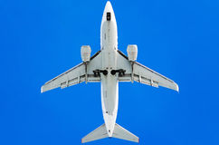 Airplane in the sky. Airplane in the blue sky Royalty Free Stock Image