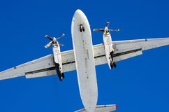 Airplane sky clouds flight airport.  Royalty Free Stock Photography