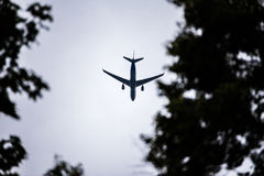 Airplane in the sky. concept for holiday Stock Photography