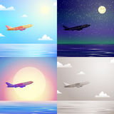 Airplane in the sky day, moonlight, sunset, vintage scene set Royalty Free Stock Photos