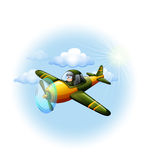 An airplane in the sky Royalty Free Stock Photography